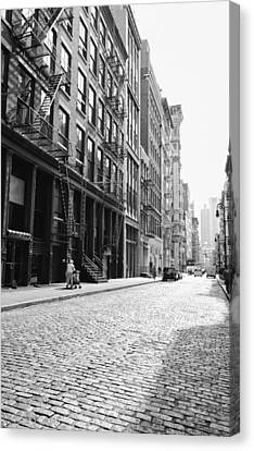 Fire Escape Canvas Print - New York City Afternoon - Cobblestones In The Sunlight by Vivienne Gucwa