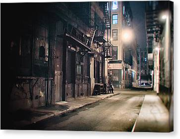 Fire Escape Canvas Print - New York City Alley At Night by Vivienne Gucwa