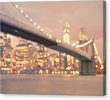 New York City And The Brooklyn Bridge - Night Lights Canvas Print by Vivienne Gucwa