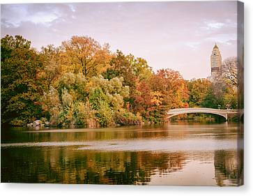 New York City - Autumn - Central Park - Lake And Bow Bridge Canvas Print by Vivienne Gucwa