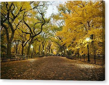 New York City - Autumn - Central Park - Literary Walk Canvas Print