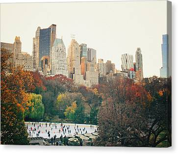 New York City - Autumn In Central Park - Trees And Ice Skating Rink Canvas Print