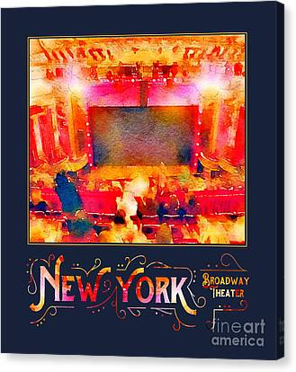 New York City Broadway Theater Digital Watercolor Canvas Print