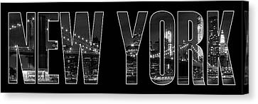 New York Canvas Print - New York City Brooklyn Bridge Bw by Melanie Viola