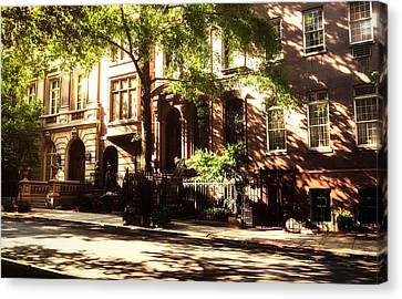 Brownstone Canvas Print - New York City Brownstones In The Sun by Vivienne Gucwa