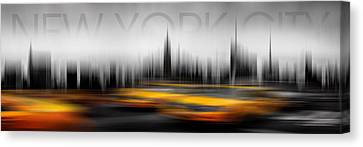 New York City Cabs Abstract Canvas Print