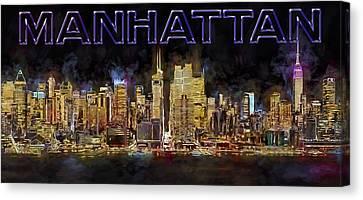 New York City Comes Alive At Sundown Canvas Print by Susan Candelario