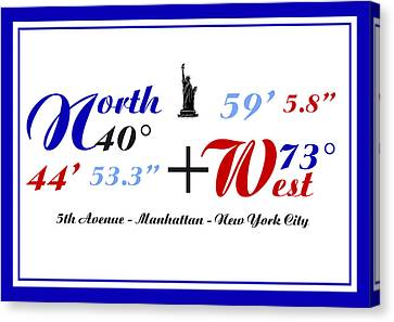 New York City Coordinates Canvas Print by Art Photography