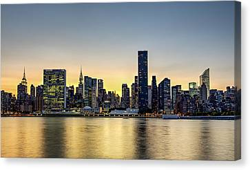 Night-scape Canvas Print - New York City Dusk Colors by Susan Candelario