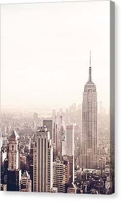 Nyc Rooftop Canvas Print - New York City - Empire State Building by Vivienne Gucwa