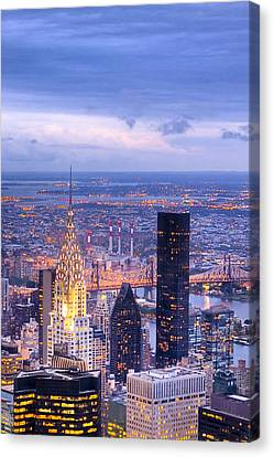 New York City Evening Canvas Print by Mark E Tisdale