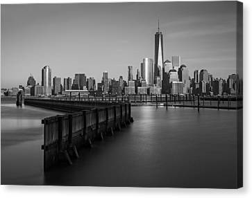 New York City Financial District Bw Canvas Print by Susan Candelario