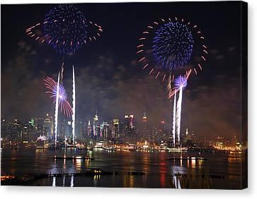 New York City Fireworks Show Canvas Print