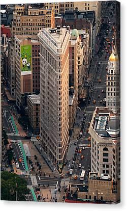 New York City Flatiron Building Aerial View In Manhattan Canvas Print