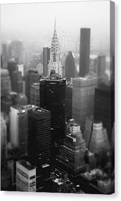 New York City - Fog And The Chrysler Building Canvas Print by Vivienne Gucwa