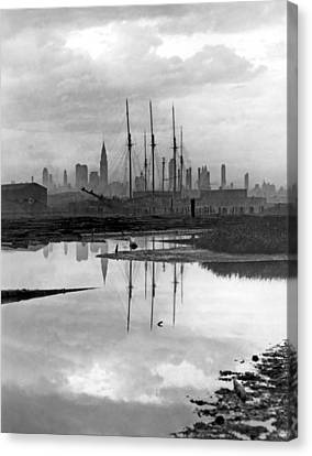 New York City From Long Island Canvas Print by Underwood Archives