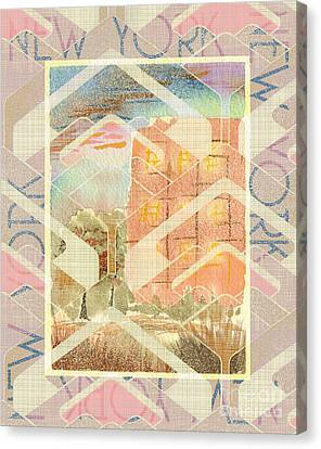New York City In Pastel Tones - Red Brick Building Canvas Print by Beverly Claire Kaiya