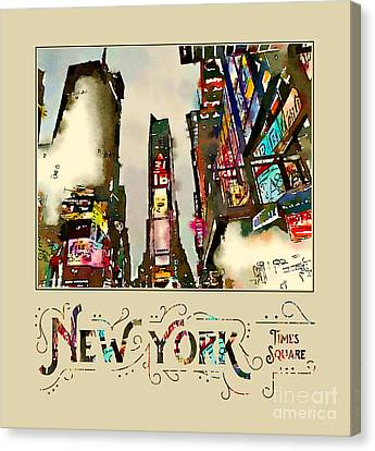 Times Square Canvas Print - New York City Late Night Times Square Digital Watercolor 2 by Beverly Claire Kaiya