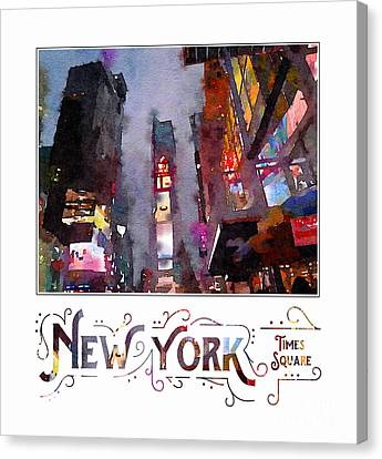 Times Square Canvas Print - New York City Late Night Times Square Digital Watercolor by Beverly Claire Kaiya