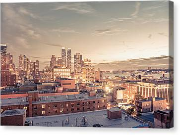 Nyc Rooftop Canvas Print - New York City - Lights And Rooftops At Dusk by Vivienne Gucwa