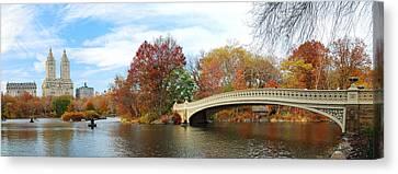 New York City Manhattan Central Park Panorama At Autumn Canvas Print