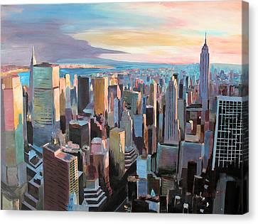New York City - Manhattan Skyline In Warm Sunlight Canvas Print by M Bleichner