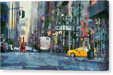 New York City Morning In The Street Canvas Print by Dan Sproul
