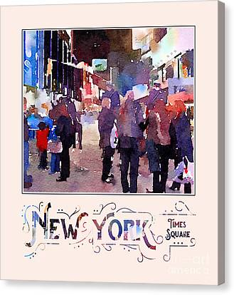 New York City Mounted Police Officers Digital Watercolor Canvas Print