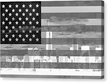 New York City On American Flag Black And White Canvas Print