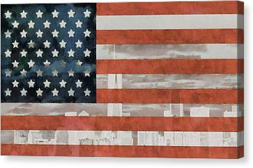 New York City On American Flag Canvas Print