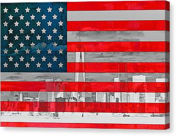 New York City Outline On American Flag Canvas Print