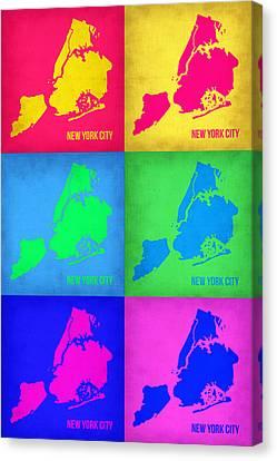 New York City Pop Art  Map 5 Canvas Print by Naxart Studio