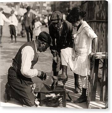 New York City Shoeshine 1916 Canvas Print by Unknown