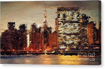 New York City Skyline Abstract 2 Canvas Print by Anthony Fishburne