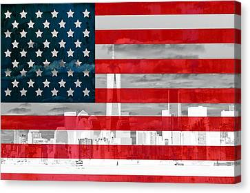 New York City Skyline And American Flag Canvas Print