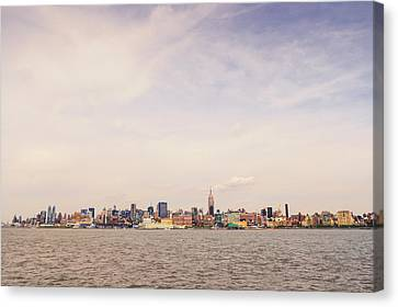 New York City Skyline And The Hudson River Canvas Print by Vivienne Gucwa