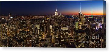 New York City Skyline At Dusk Canvas Print by Mike Reid