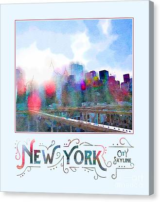 New York City Skyline Digital Watercolor Canvas Print