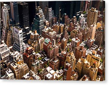 Nyc Rooftop Canvas Print - New York City Skyline From Above by Vivienne Gucwa