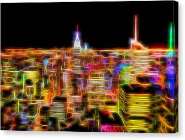 New York City Skyline Glowing Lights Canvas Print by Dan Sproul