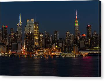Night-scape Canvas Print - New York City Skyline In Christmas Colors by Susan Candelario