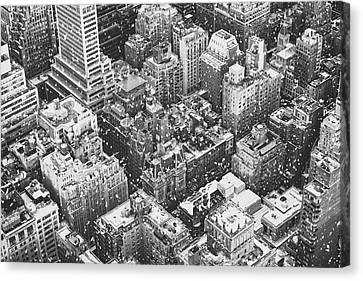 New York City - Skyline In The Snow Canvas Print by Vivienne Gucwa