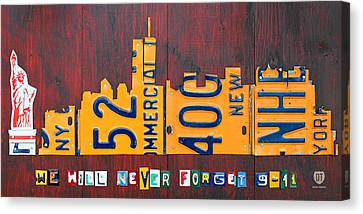 New York City Skyline License Plate Art 911 Twin Towers Statue Of Liberty Canvas Print by Design Turnpike