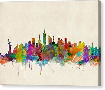 Silhouettes Canvas Print - New York City Skyline by Michael Tompsett