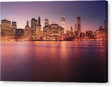 New York City Skyline - Night Lights Canvas Print by Vivienne Gucwa