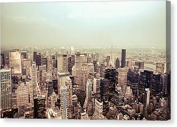 New York City - Skyline On A Hazy Evening Canvas Print by Vivienne Gucwa