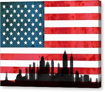 New York City Skyline On American Flag Canvas Print by Dan Sproul