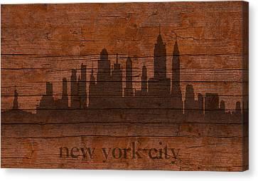 New York City Skyline Silhouette Distressed On Worn Peeling Wood Canvas Print by Design Turnpike