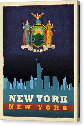 New York City Skyline State Flag Of New York Nyc Manhattan Art Poster Series 005 Canvas Print