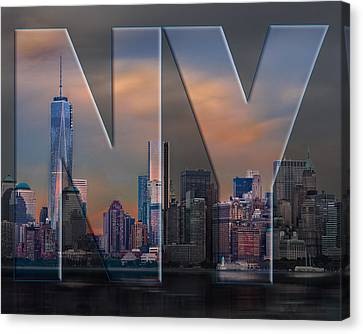 Canvas Print featuring the photograph New York City Skyline by Steve Zimic